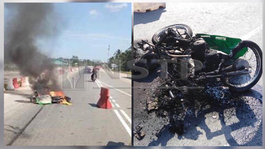 Keadaan motosikal yang ditunggangi mangsa musnah terbakar selepas berlanggar dengan pacuan empat roda. FOTO Ihsan PDRM