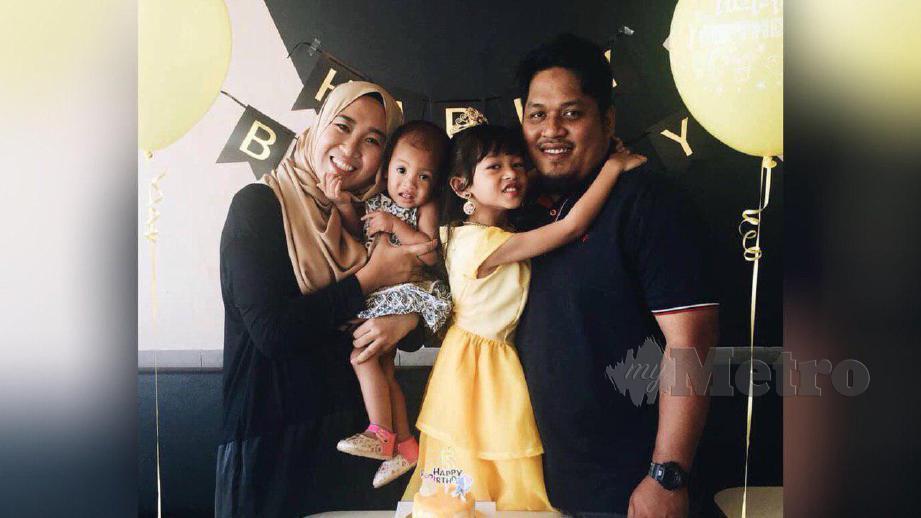 Gambar kenangan Nur Syuhadah, Muhammad Hamadi bersama dua anak mereka. FOTO Ihsan Pembaca