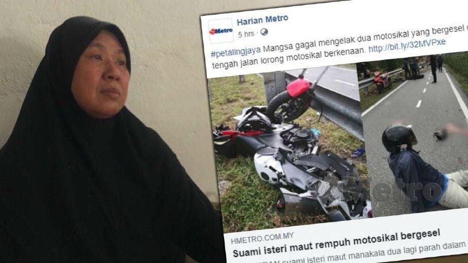 Fatimah, ibu kepada Nur Syuhadah yang maut dalam kemalangan bersama suaminya Muhammad Hamadi di Lebuhraya Persekutuan, hari ini. FOTO NSTP
