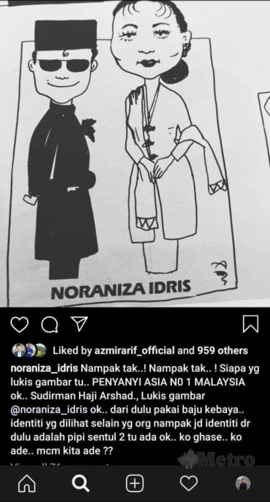 GAMBAR yang dimuatnaik Noraniza di Instagram sehingga mencetuskan perbalahan dalam kalangan peminat Datuk Seri Siti Nurhaliza. FOTO Instagram