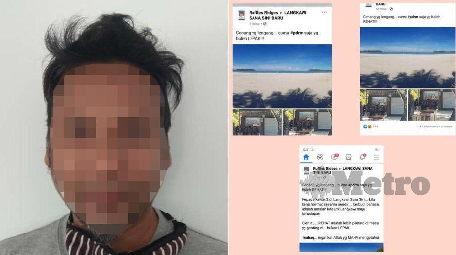 SUSPEK yang memuat naik status berbaur fitnah terhadap anggota polis di laman Facebook. FOTO Ihsan Polis