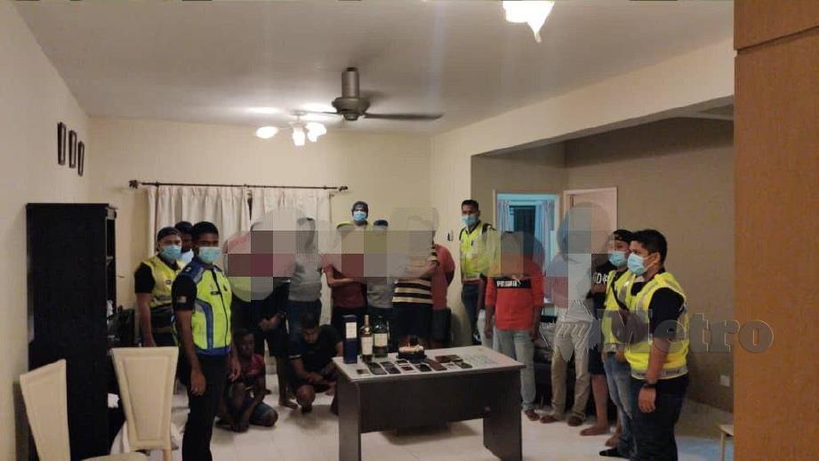 Seramai 14 individu ditahan kerana berkumpul untuk menyambut hari lahir rakan mereka di sebuah kondominium dekat Park View Tower, Jalan Harbour Place, Butterworth, tengah malam tadi. FOTO Ihsan PDRM