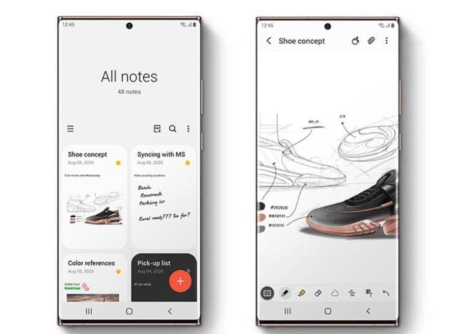 SAMSUNG Note20 guna teknologi Super AMOLED Plus dengan nisbah paparan lebih 89 peratus.