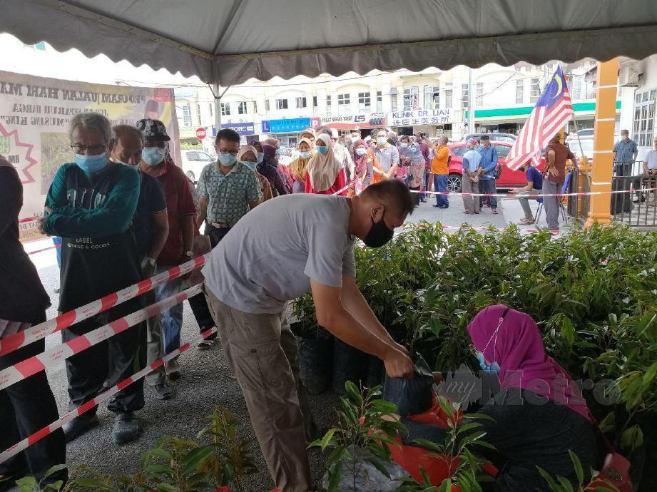 Orang ramai tidak lepas peluang bagi membeli anak pokok musang king separuh harga pada program sempena Hari Malaysia di Pusat Khidmat Masyarakat DUN Klawang. FOTO ABNOR HAMIZAM