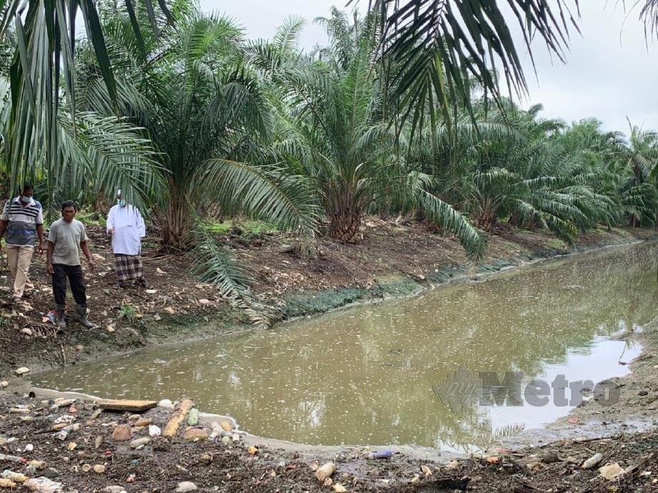 Penduduk menunjukan parit yang didakwa dicemari bahan buangan daripada kilang berhampiran di Kampung Parit Perak, Sitiawan. FOTO NOOR HIDAYAH TANZIZI.