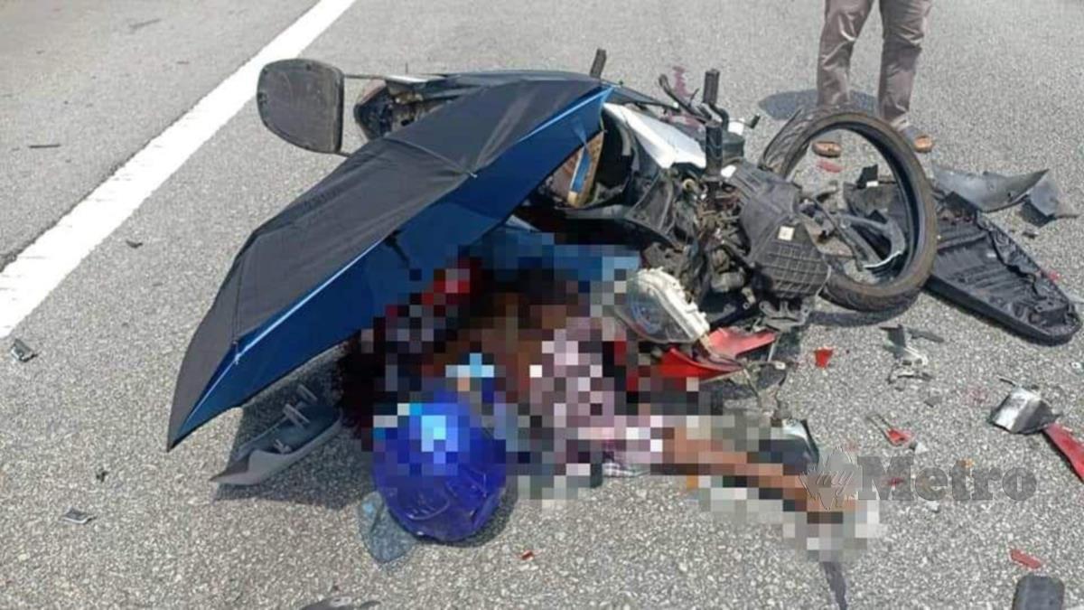 LELAKI warga emas yang maut dalam kemalangan selepas motosikal ditunggangnya melanggar bahagian belakang sebuah lori di Jalan Sentul Link arah ke Lebuhraya Sultan Iskandar, Kuala Lumpur, hari ini.