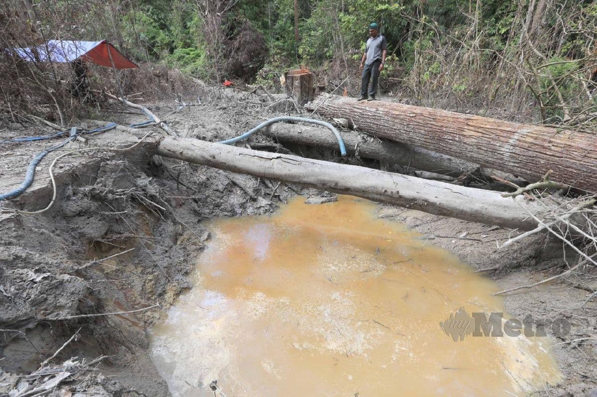 Kawasan bekas tapak lombong emas haram di Hutan Simpan Ibam yabg dikesan pada Operasi Degil, Januari lalu. FOTO MOHD RAFI MAMAT