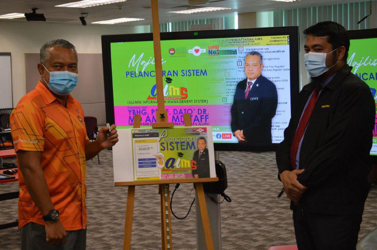 PELANCARAN laman web AiMS untuk perkasa data alumni secara virtual bersama Timbalan Naib Canselor HEPA, Prof Dato Dr Md Amin Md Taff.