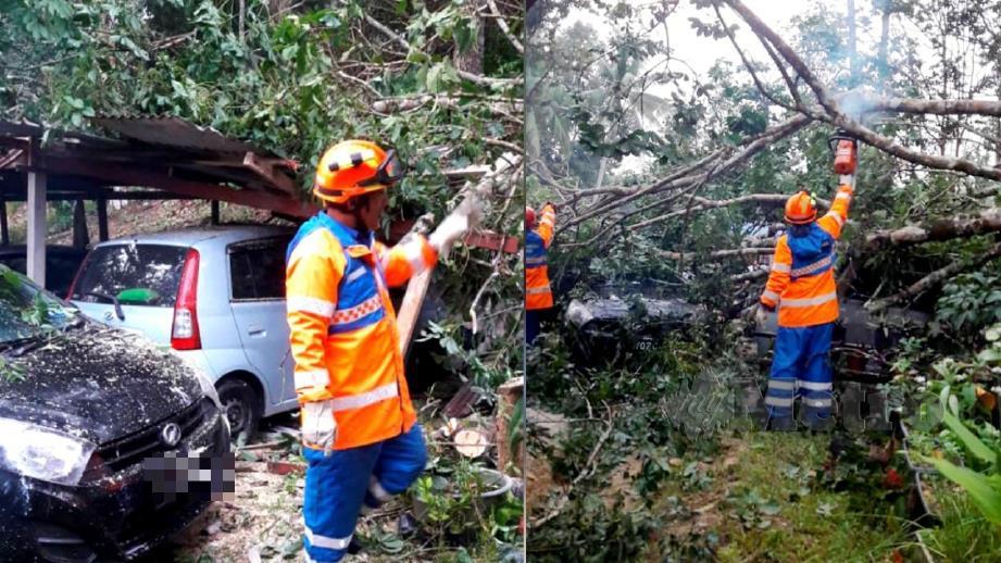 ANGGOTA APM membantu membersihkan kawasan terjejas ribut di Kampung Ulu Atok. FOTO Ihsan APM