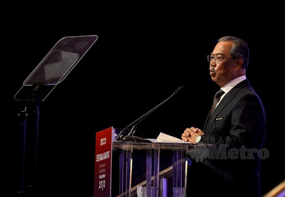 MUHYIDDIN berucap pada Majlis Sesi Balai Rakyat Makmur Bersama Kuala Lumpur 2030 di Pusat Konvensyen Kuala Lumpur. FOTO BERNAMA