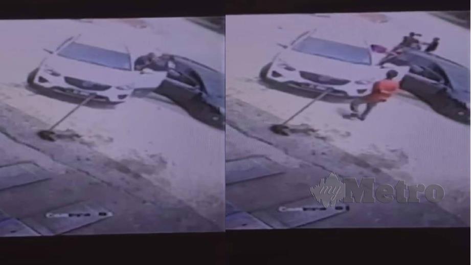RAKAMAN CCTV menunjukkan mangsa dan bapanya dibelasah bekas suaminya yang tular di media sosial.