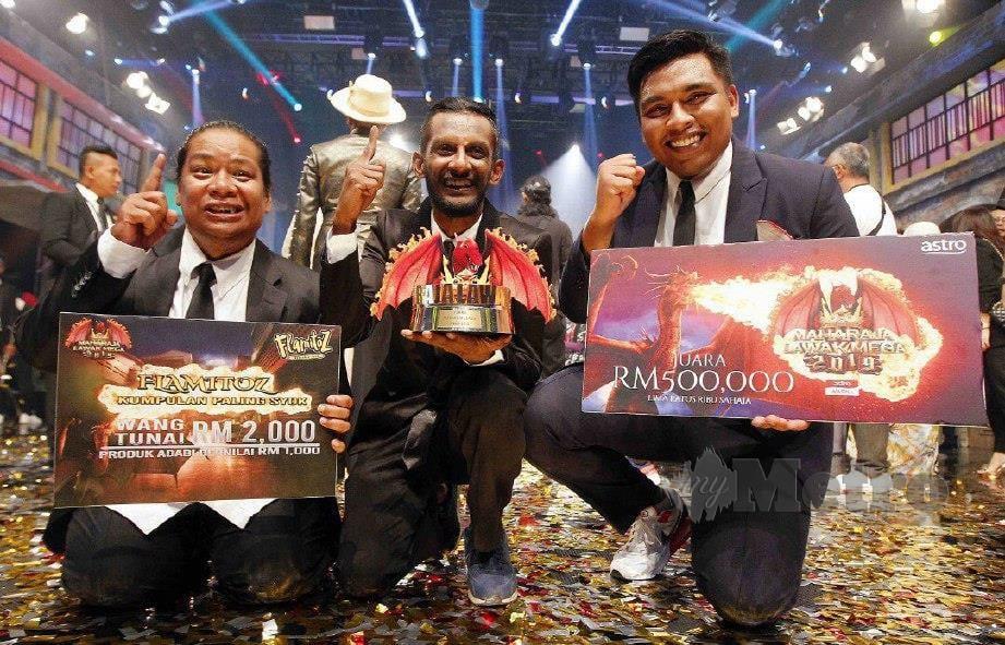 KUMPULAN Puteh dinobatkan juara Maharaja Lawak Mega 2019 di Royal Theatre Shah Alam. FOTO SAIFULLIZAN TAMADI