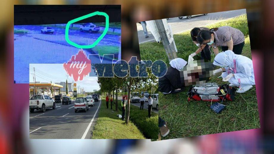 Badan mangsa putus dua dirempuh pacuan empat roda. (Gambar dalam bulatan) Pacuan empat roda yang merempuh mangsa sebelum pemandunya menghilangkan diri. FOTO ihsan polis.
