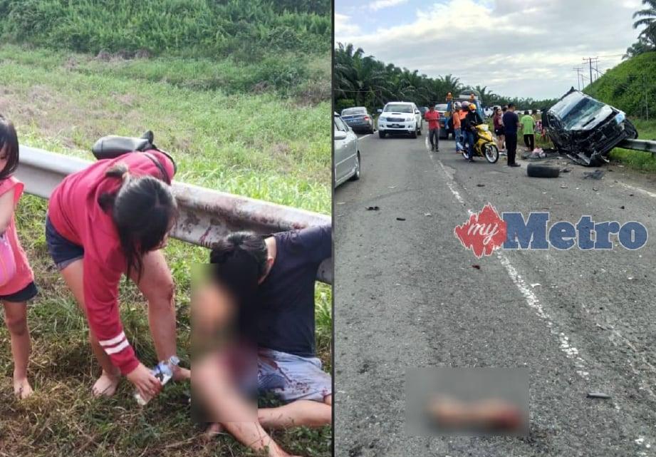 PEMANDU lelaki putus tangan selepas terbabit dalam kemalangan di Kilometer 66, Jalan Beluran-Telupid, petang tadi.