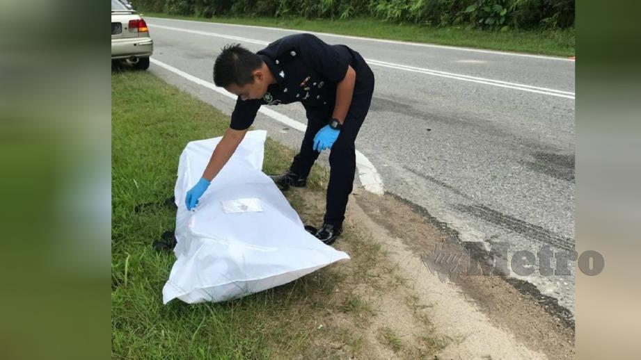 PENUNGGANG motosikal warga Singapura maut selepas terbabit kemalangan dengan van di Kilometer 6.6 Jalan Gelang Patah-Ulu Choh, Iskandar Puteri, hari ini. FOTO ihsan polis.