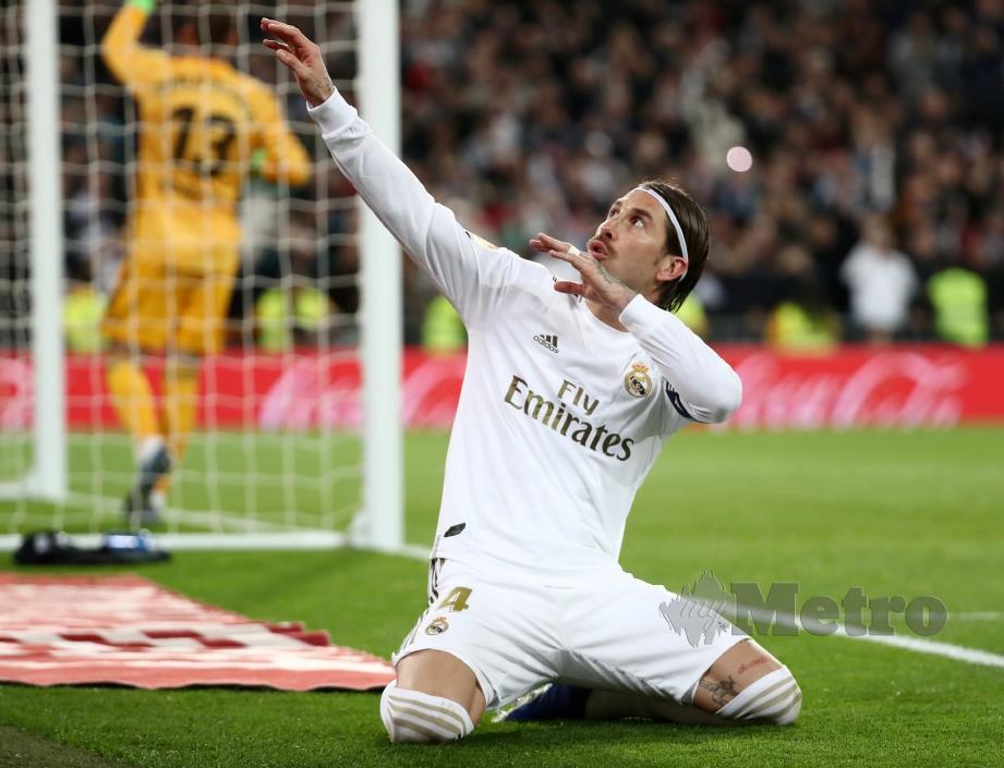 GAYA menarik Ramos selepas menjaringkan gol di Santiago Bernabeu. FOTO Reuters