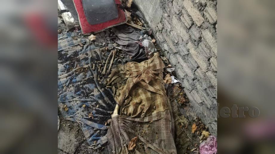 Rangka manusia yang ditemui dalam bangunan terbengkalai semalam. FOTO Ihsan PDRM