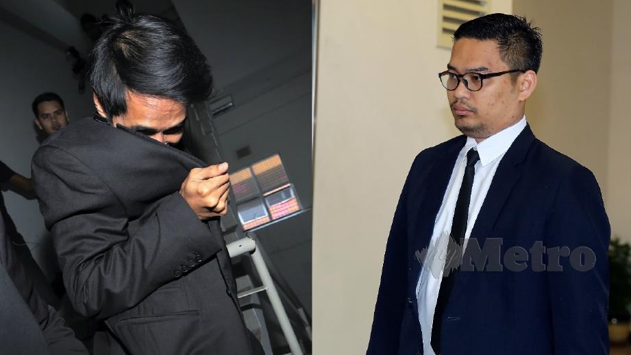 KHAIRUL Azhwa (kiri) dan Noor Amirul Nazreen ketika hadir di Mahkamah Sesyen Shah Alam, hari ini. FOTO Saddam Yusoff.