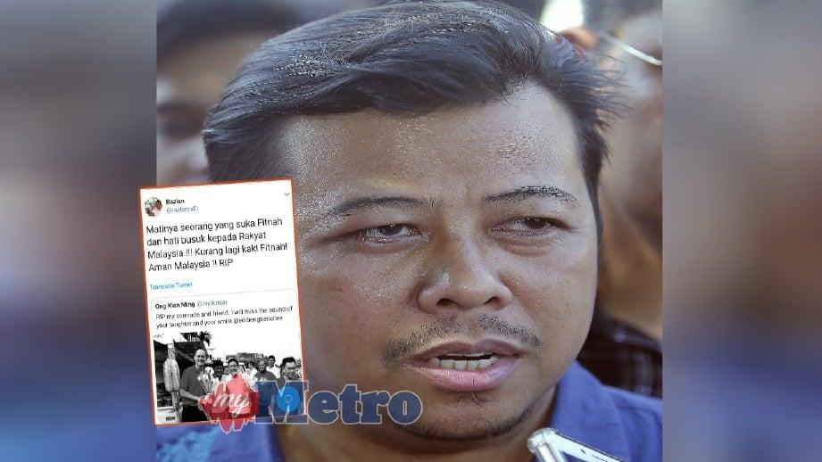 NAIB Ketua UMNO Bahagian Seputeh Datuk Mohd Razlan Rafii. FOTO Arkib NSTP Tweet yang dimuat naik Mohd Razlan (gambar kecil).
