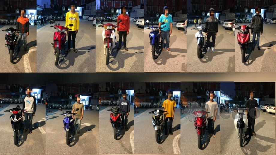 Kesemua penunggang motosikal yang ditahan selepas disyaki terbabit dalam lumba haram di mat rempit Lebuh Sungai Udang-Paya Rumput-Ayer Keroh (SPA), Melaka pada pagi hari ini. Foto Ihsan PDRM