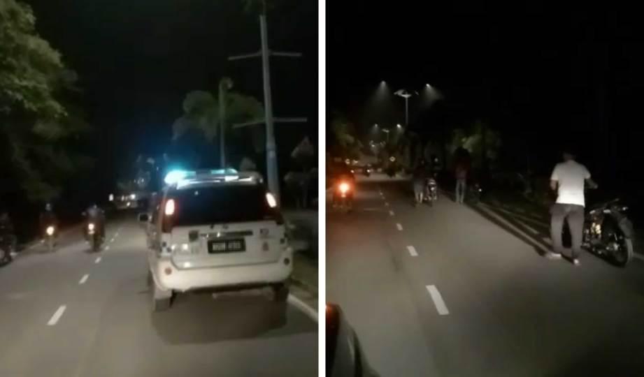 VIDEO tular memapar beberapa mat rempit ditahan dilihat menyorong motosikal mereka diiringi takbir raya dan kata-kata nasihat menerusi pembesar suara daripada kereta peronda polis.