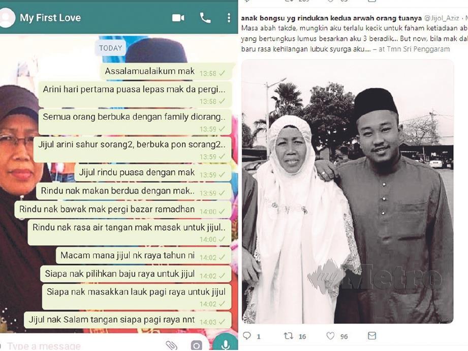 (KIRI) WHATSAPP Mohamad Azizul  yang dihantar  ke nombor milik arwah ibunya. (kanan) MOHAMAD Azizul bersama arwah ibunya.