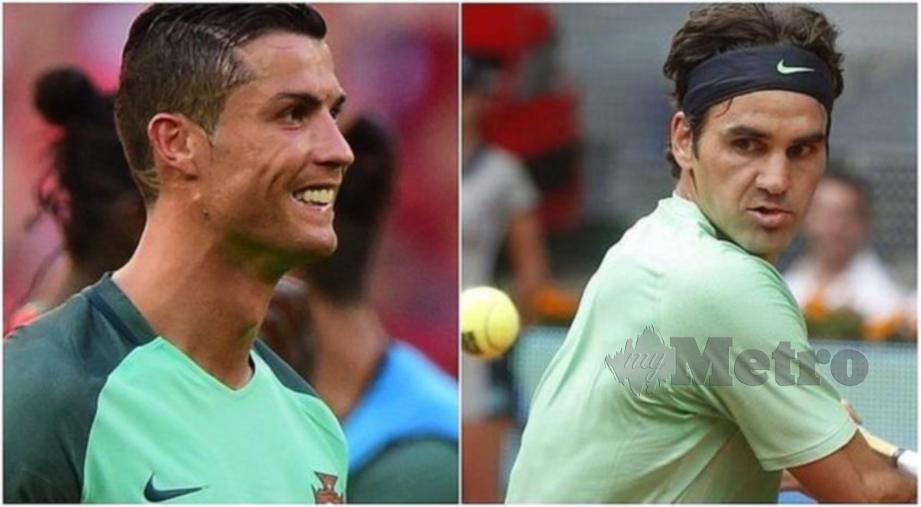 Federer (kanan) memperoleh pendapatan tertinggi mengatasi Ronaldo di tangga kedua. FOTO Agensi