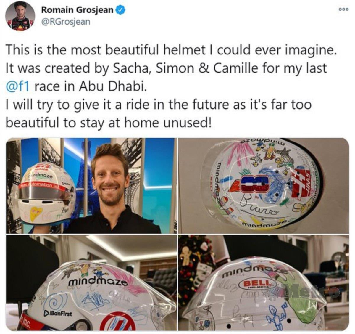 Grosjean memuat naik beberapa gambar di Twitter.