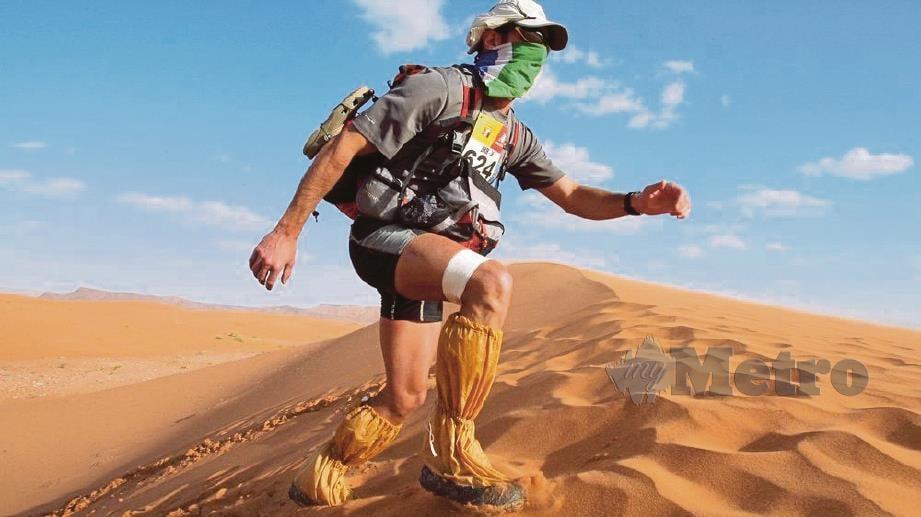ANTARA cabaran yang perlu ditempuh peserta adalah pasir tebal dan ribut pasir.