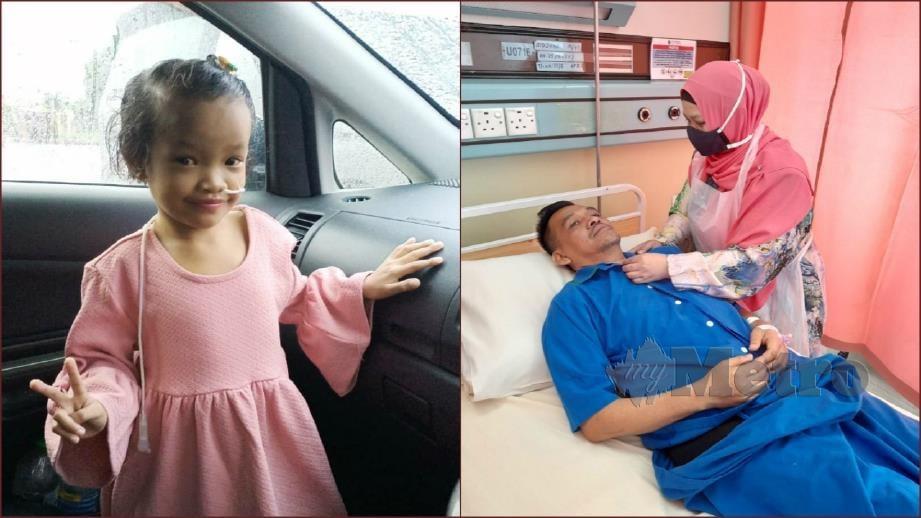 NURUL Fariha yang menghidap Sindrom Alagille dan Ridzuan selepas menjalani pembedahan pemindahan hati. FOTO Ihsan Nurul Farahiyah.