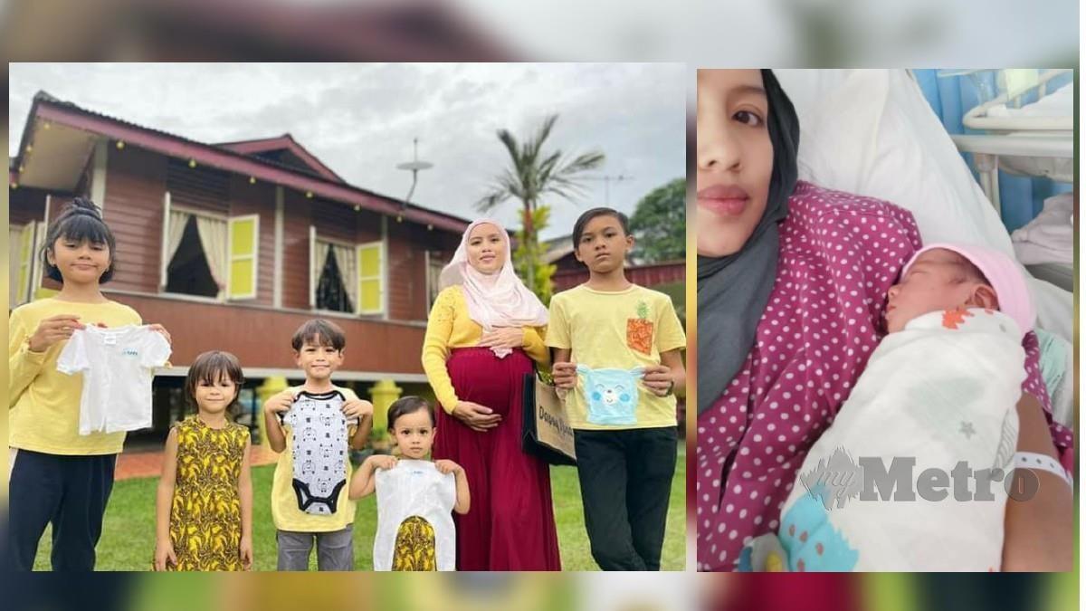 Nur Amalina bersama lima anaknya dan (gambar kanan) selepas melahirkan anak keenamnya di HTJ, Seremban. Foto Ihsan Nur Amalina Saad