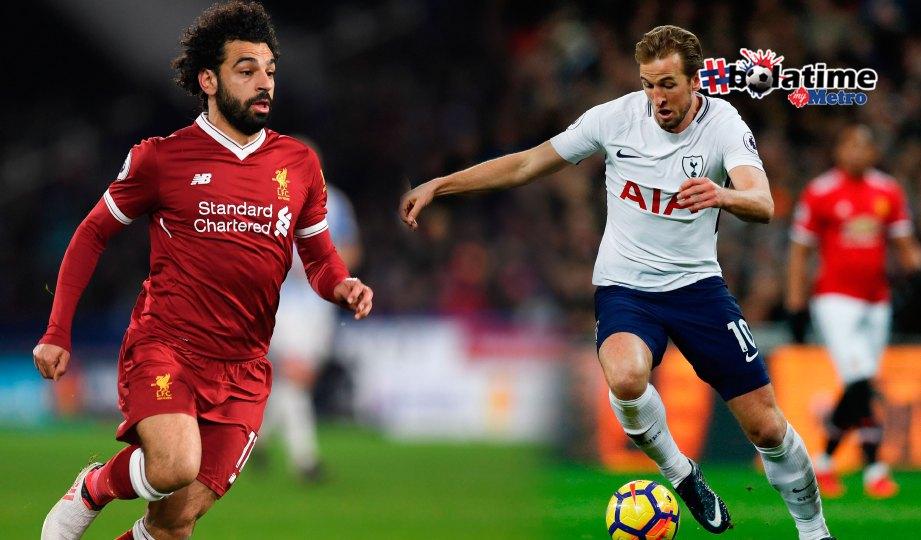 SALAH senjata Liverpool kutip mata berharga berdepan Spurs. Kane (kanan) calon hangat pemenang kasut emas selepas meledak 21 gol. FOTO AFP