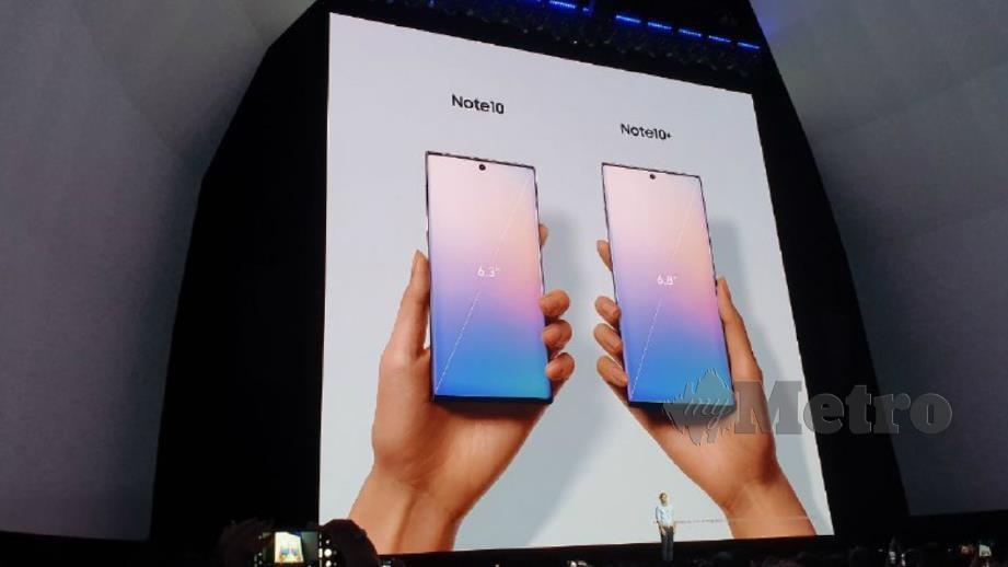 Samsung Galaxy Note 10 dan Note 10+ yang dilancarkan hari ini di New York. FOTO Muhammad Saufi Hassan