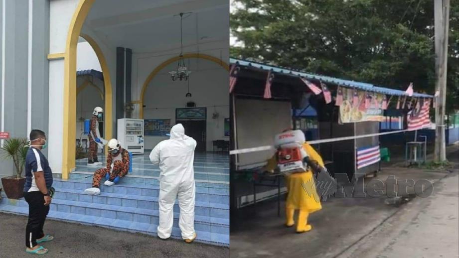 PROSES sanitasi dilakukan di gerai makan dan masjid sekitar Jerantut. FOTO Roselan Ab Malek.