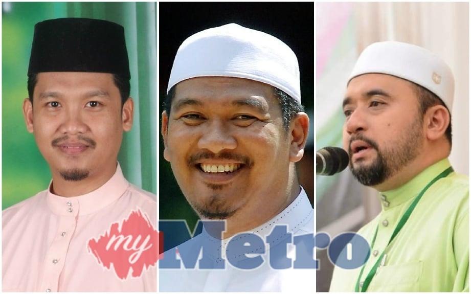 (Dari kanan) Nushi, Ahmad Dusuki dan Mohd Zamri masing-masing akan bertanding kerusi DUN dan Parlimen.