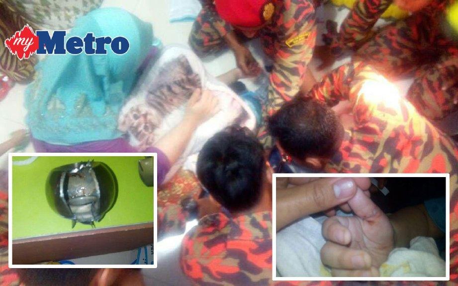 BUDAK lelaki berusia tiga tahun cedera pada ibu jari selepas tersepit tombol pintu di Taman Samudera, Selayang, semalam. FOTO ihsan bomba