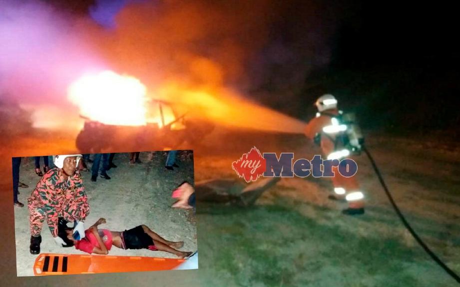Anggota bomba dan penyelamat membantu menyelamatkan mangsa serta memadamkan kebakaran kenderaan yang terbabit dalam kemalangan. FOTO Ihsan Bomba