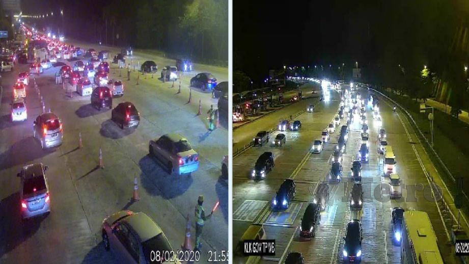 Keadaan trafik di Karak dan Gombak pada malam ini. Foto Ihsan LLM