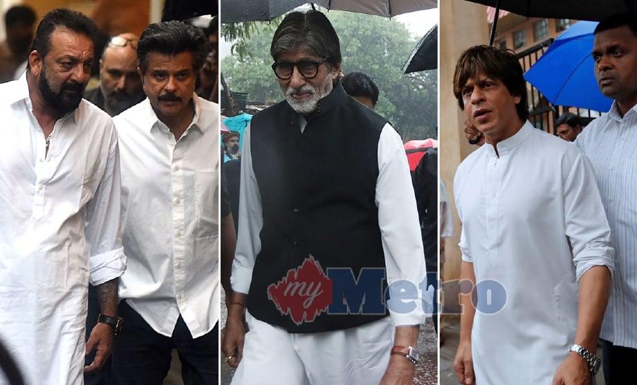 Pelakon Sanjay Dutt, Anil Kapoor,  Amitabh Bachchan dan Shah Rukh Khan yang memberi penghormatan terakhir kepada Shashi Kapoor, hari ini. - Foto AFP/REUTERS