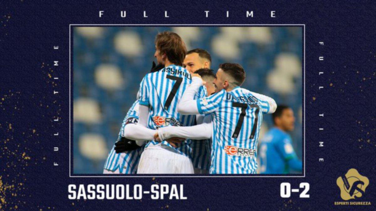 Pemain SPAL meraikan kejayaan menewaskan Sassuolo. FOTO Ihsan Twitter SPAL