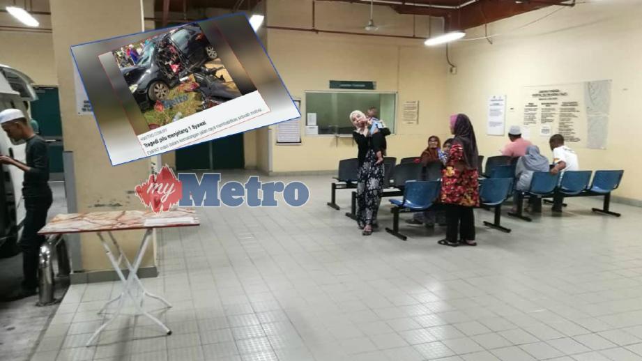 AHLI keluarga menunggu proses bedah siasat di Hospital Sultan Abdul Halim (HSAH) Sungai Petani, malam ini. FOTO Omar Osman