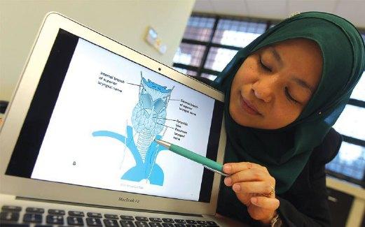 DR Marina menunjukkan keseluruhan imej pita suara manusia.