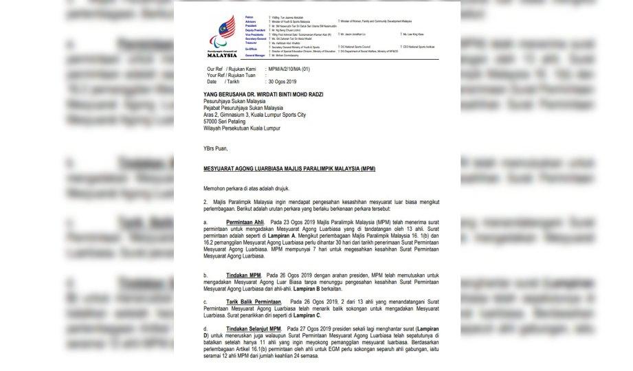 SALINAN surat MPM kepada Persuruhjaya Sukan.