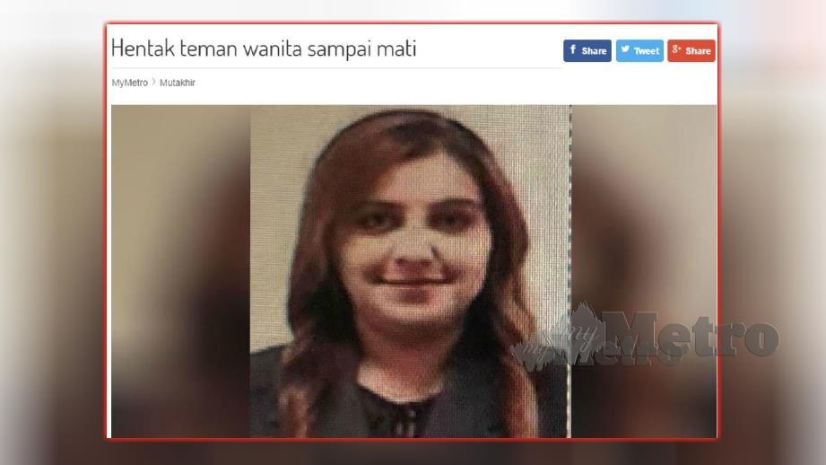 LAPORAN portal berita Harian Metro, semalam mengenai mangsa meninggal dunia di hospital selepas dihentak dengan topi keledar.