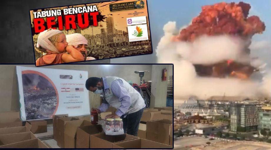 SUKARELAWAN  'Ghirass For Society Development' menyalurkan sumbangan hasil kutipan Muslim Care Malaysia Society untuk rakyat Lubnan yang terjejas akibat letupan ammonium nitrate.