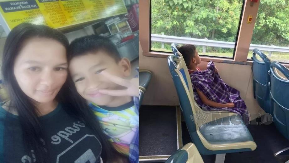 Siti Fatimah bersama Nasmir dan (gambar kanan) rakaman yang tular di FB ketika menaiki bas dengan berkain pelekat kerana baru berkhatan. Foto ihsan Pembaca