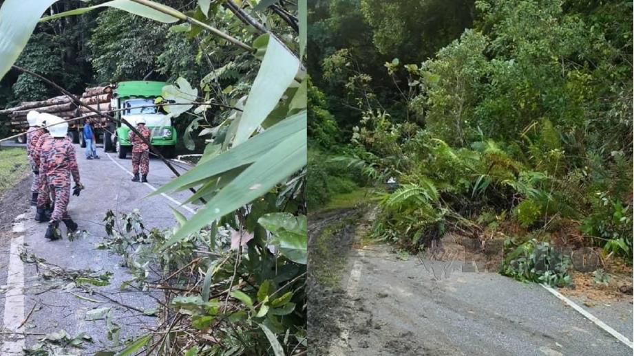 Laluan di Jalan Gombak lama terhalang berikutan kejadian tanah runtuh pagi hari ini. Foto Ihsan JBPM