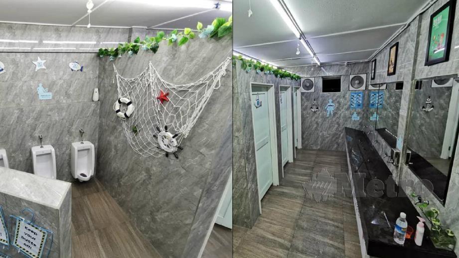 KEADAAN tandas SJKC Chung Hua, Marudi, Sarawak yang diubah suai hingga kelihatan bersih dan menarik. FOTO Ihsan Tiew Wei Hieng