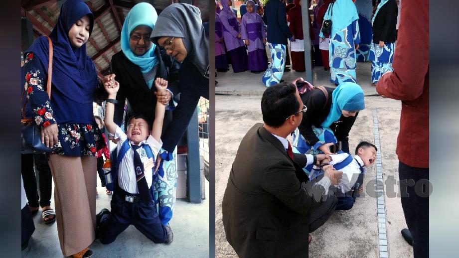 WAN Muhammad Hadiyyatullah Wan Mohd Hafiz Auri, 7, dipujuk ibunya, Norhayati Alias, 32, (kiri) dan guru pada hari pertama persekolahan di Sekolah Kebangsaan (SK) Kubang Kerian 3, Kota Bharu. FOTO Zaman Huri Isa.