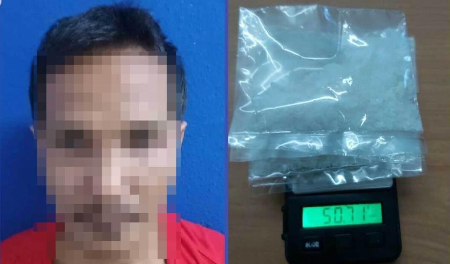 SUSPEK ditahan bersama syabu 50.71 di Kampung Vietnam, Tanjung Batu, Tawau. FOTO Ihsan IPD Tawau